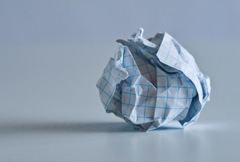Crumpled ball of grid paper.