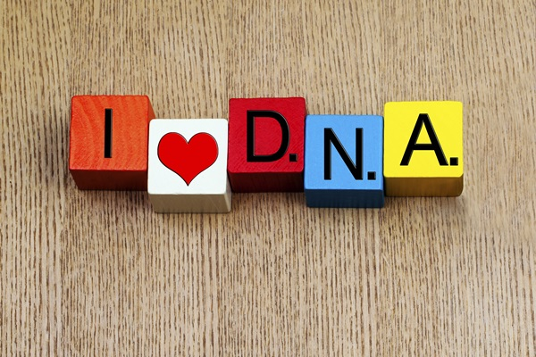 I Love DNA  - sign for science and genetics