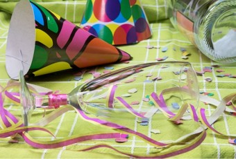 Closeup view of a after a party mess
