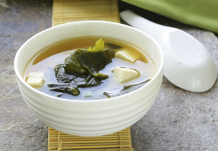 Japanese miso soup with tofu and seaweed