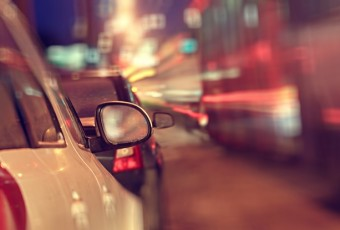 city ​​car traffic jams night lights