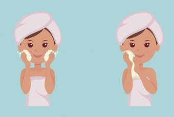 Isolated set of characters: Girl takes care of the skin.