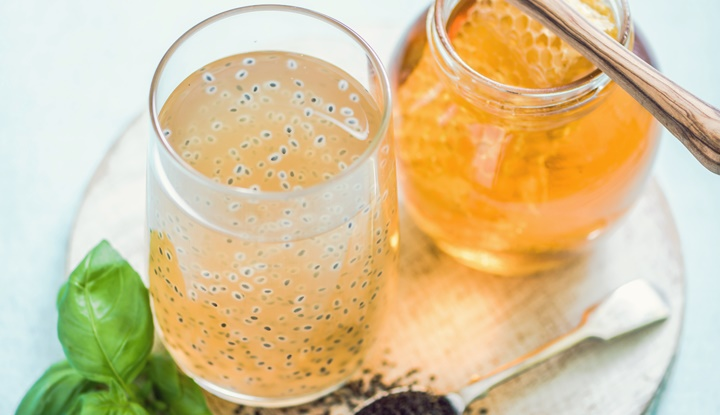 basil seeds drink with natural honey