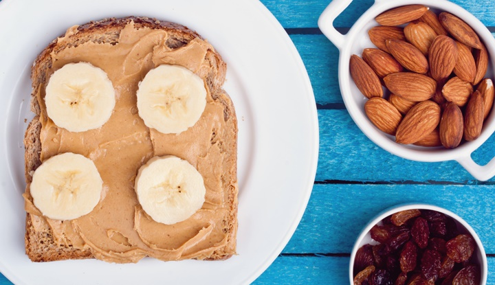 peanut butter bread with banana, almond and raisins