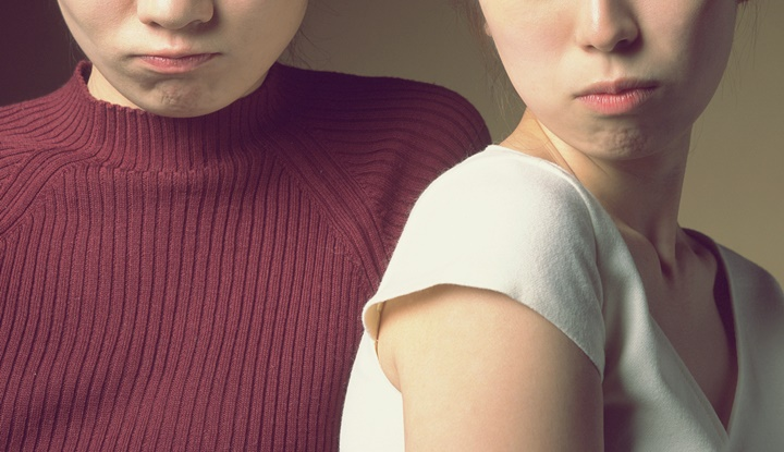 Two Angry Young Women, Front View, Looking at Camera