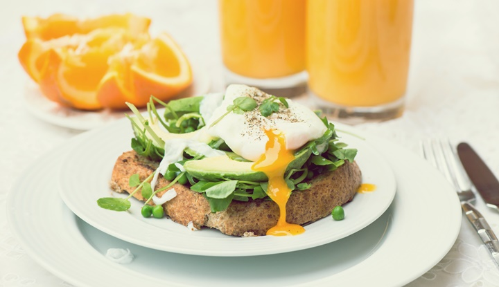 Healthy Breakfast with Wholemeal Bread Toast and Poached Egg