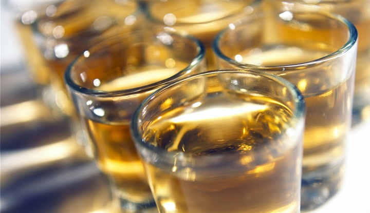 Close-up of whisky in glasses