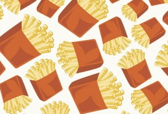 Crispy french fries seamless pattern background