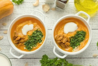 Bowl of spicy pumpkin soupwith coconut milk