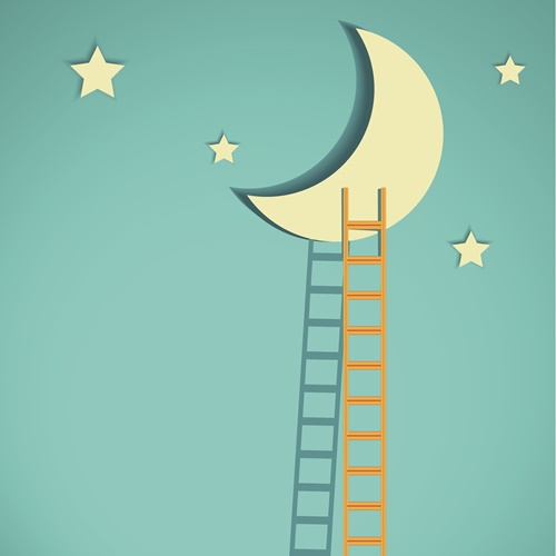 competition concept, moon with ladders on turquoise sky