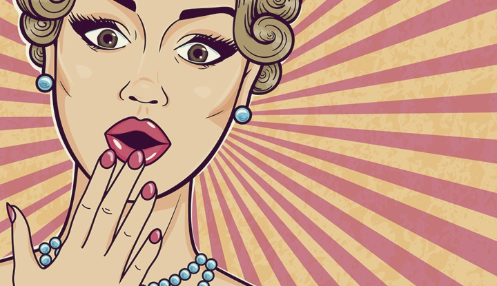 Pop art retro woman shocked face with open mouth and thought bubble for message, comic sketch style