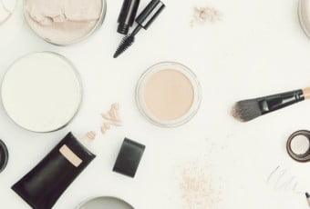 Top view of different cosmetics products