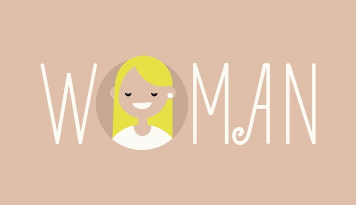 "Feminine illustrated sign ""Woman"""
