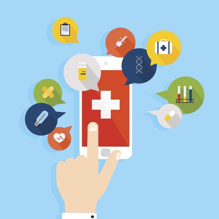 Mobile phone with health application open with hand. Vector mode