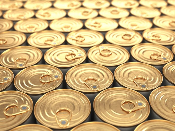 Food tin cans. Groceries background.