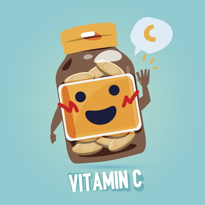 bottle of vitamin c with cab character design. vitamin concept