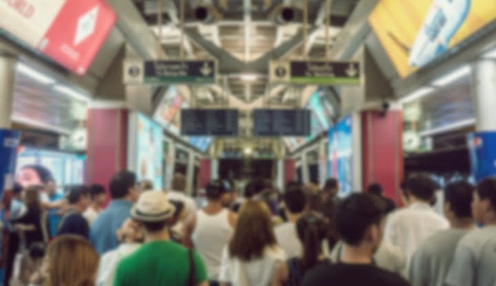 Abstract blur People surrounding Siam station in Bangkok