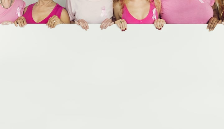 Pink Ribbon Breast Cancer Girls Feminine Copy Space Banner Conce