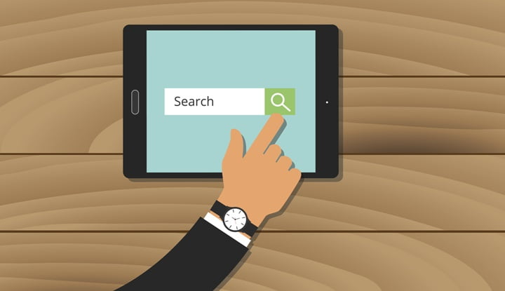 search engine analytics web tablet hand searching