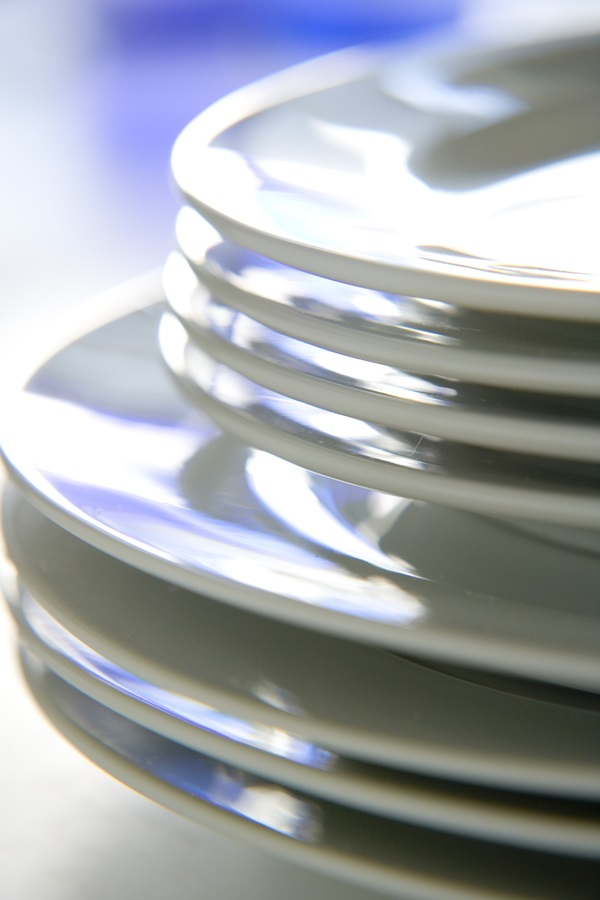 Stack of clean white plates