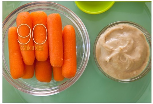 Eight Baby Carrots with Hummus