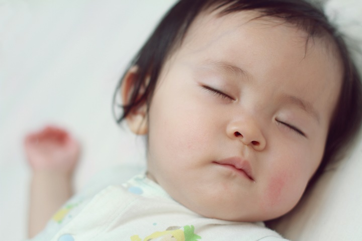 Sleeping Japanese baby girl