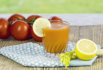 Glass of freshly squeezed tomato juice