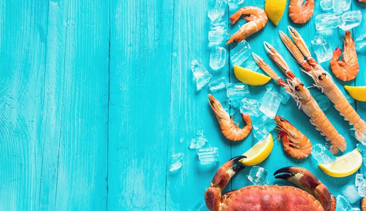 Vibrant sea food background