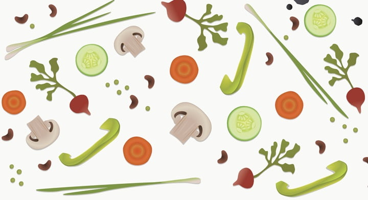 Vegan diet healthy food background, vector
