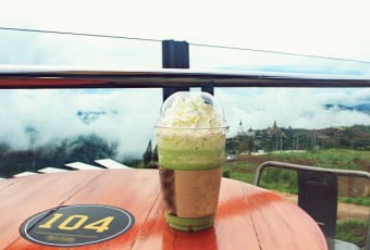 Frappe matcha greentea at coffee shop near Phasonkaew Temple,Thailand.