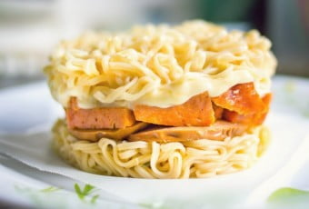 Instant Ramen Burger with Cheese & Spam