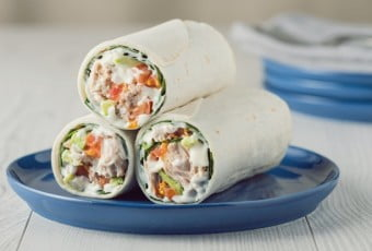 Tuna wraps with avocado tomato and mayonnaise
