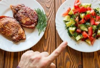 vegetarian chooses salad instead of fried meat